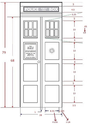 Technical drawing of a door