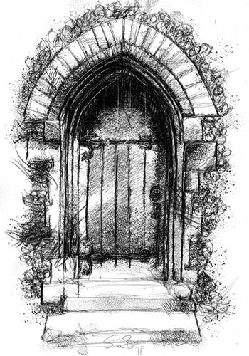 Shaded drawing of a door
